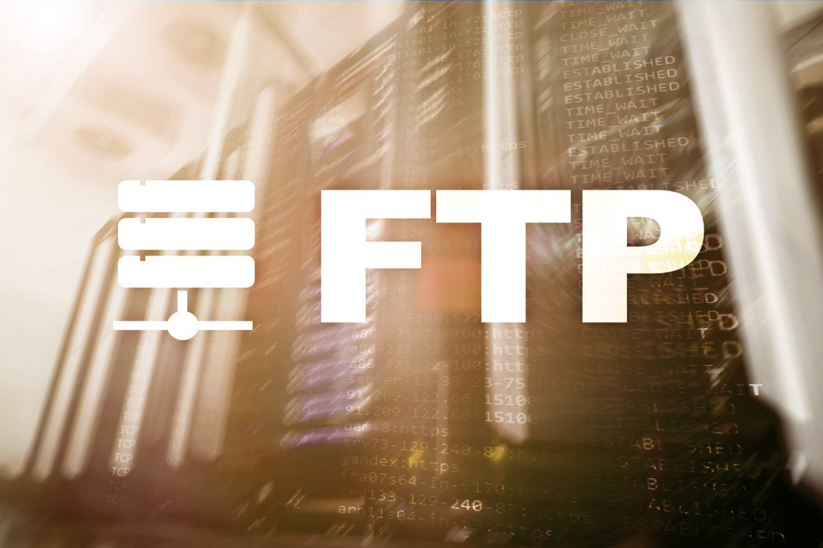FTP - File transfer protocol. Internet and communication technology concept