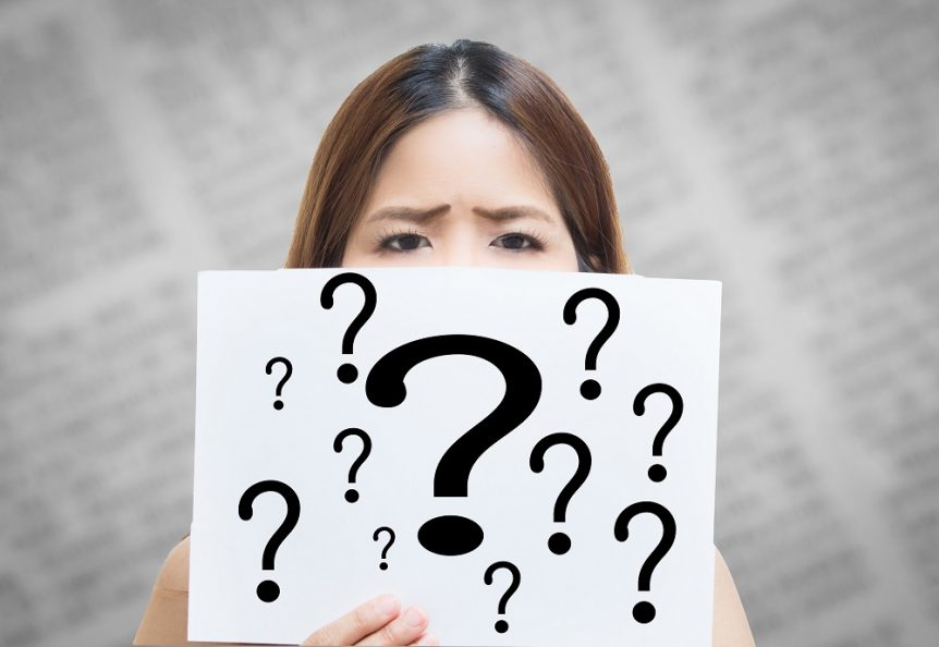 stressed woman with question mark