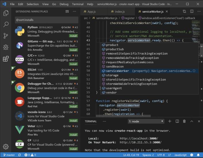 VSCode 에디터 화면